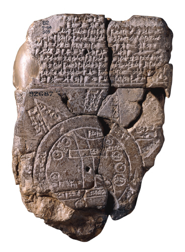 The Babylonian clay tablet map, discovered in the late 19th century.