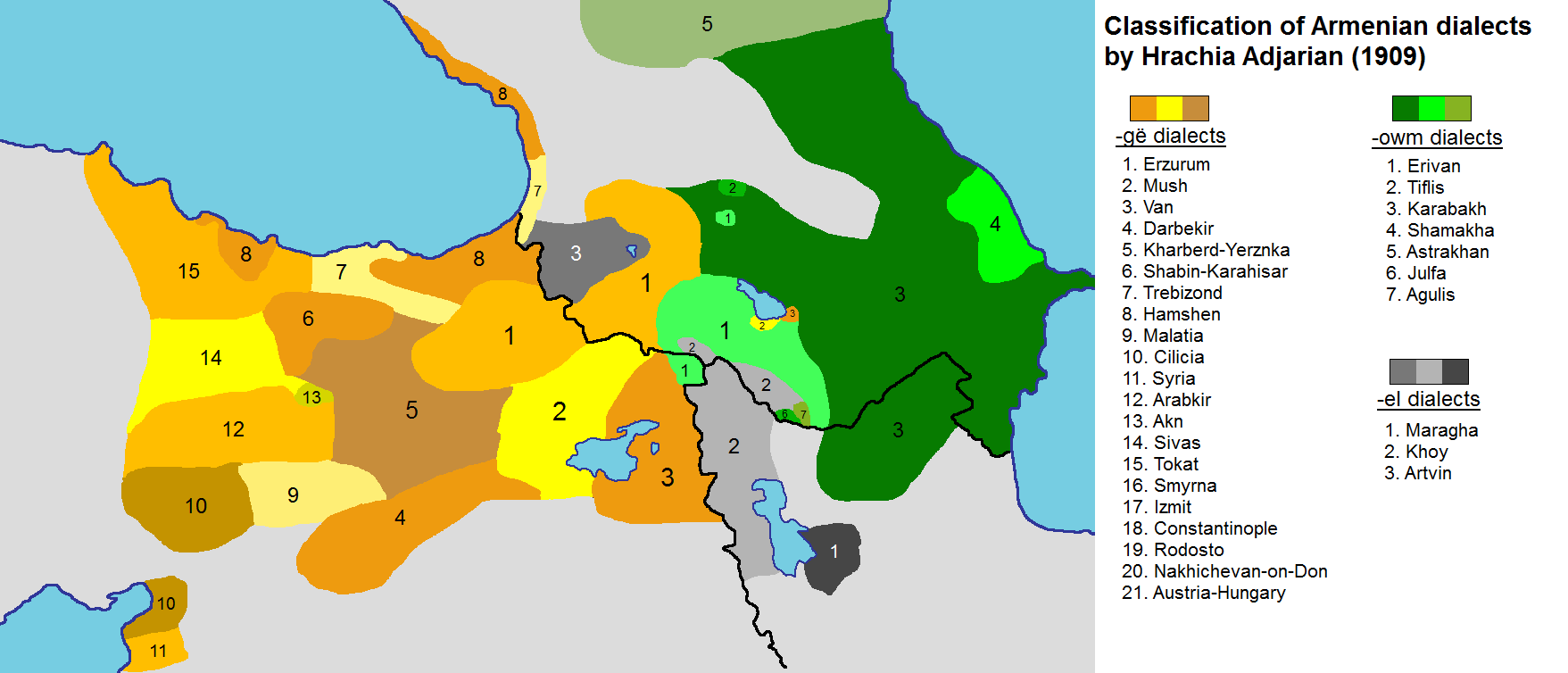 Distribution of Armenian dialects in the Ottoman and Russian empires, according to Adjarian's Classification des dialectes arméniens, published in 1909; many dialects disappeared as a result of the Armenian Genocide and due to other demographic and social shifts of the 20th century.