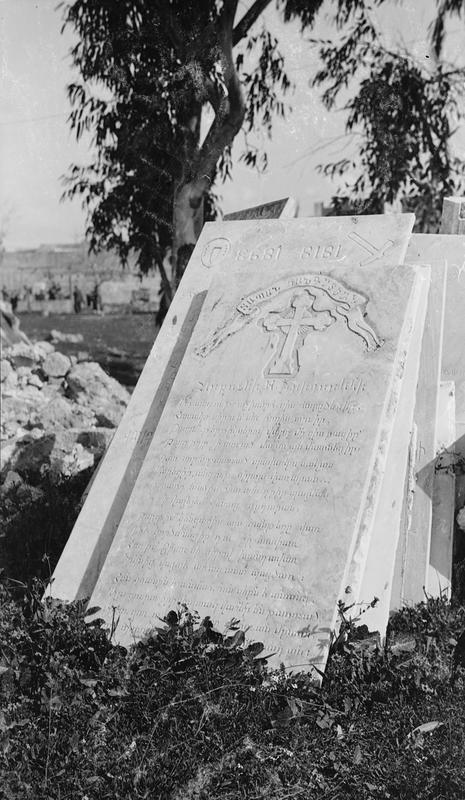 """Not a single grave was left untouched by the Turks and not a single tombstone was left standing. Many marble monuments had been taken away and apparently the New Zealanders arrived just in time to prevent the removal of those that remain."" The Armenian Cemetery at Jaffa, not too far from Jerusalem, photographed by George Westmoreland; part of the UK's Ministry of Information First World War Official Collection"