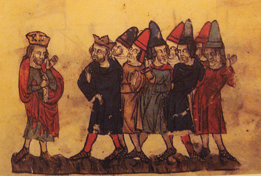 King Hetoum II of Armenian Cilicia and the Mongol Khan Ghazan, from an early 14th century manuscript.